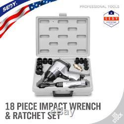 18 Pc 1/2 Drive Hightorque Clé À Pistolet À Cliquet Kit Air Outil Set Socket Set
