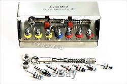 Clé Dynamométrique Différentielle Pour Implants Dentaires - Ensemble Complet À Cliquet + Clés + 2 Têtes