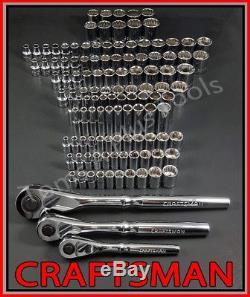 Craftsman 119pc 1/4 3/8 1/2 Dr Sae & Metric MM 6pt 12pt Jeu De Douilles À Cliquet