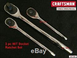 Craftsman Tools Ensemble De 3 Clés À Cliquet À Dents Fines, 1/4 3/8 1/2, Tête Scellée (90t)