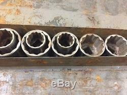 Craftsman V 3/4 Drive Socket Set Cliquet Poignée Métal Boîte À Outils Couronne Logo Vtg