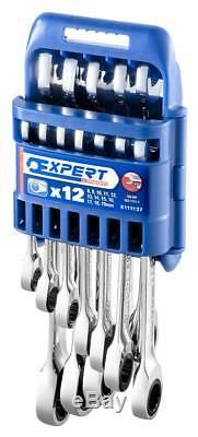 Expert Facom E111137 12 Pce. Combinaison Plat Ratcheting Spanner Set 8-19mm