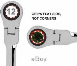 Extra Longue Vitesse Jeu De Clés Double Ratcheting Box End Flex Clés Head Gears 5p