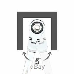 Flex-head Double Box End Wrench Extra Long Ratcheting 5 Pc Set Métrique 8 MM 19 MM