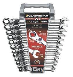 Gearwrench 85698 Jeu De 12 Clés Combinées À Cliquet À Verrouillage À Tête Flexible XL