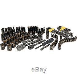 Jeu De Douilles Stanley 123 Pièces Noir Chromé Mécanique Outils De Travail À Cliquet Nouveau