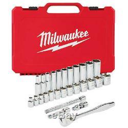 Milwaukee 48-22-9408 3/8 Pouces D'entraînement Durable Sae Ratchet Et Socket Set- 28pc