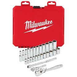 Milwaukee 48-22-9504 1/4-pouce D'entraînement Durable Métrique À Cliquet Et Douilles 28pc