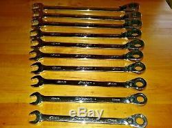 Snap On 10pc Métrique Flanc Drive Plus Ratcheting Clé Set 10-19mm Soexrm710