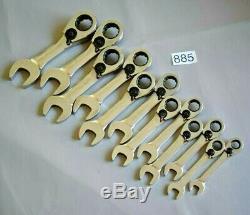 Snap On Tools Blue-point 12pc Réversible Court Ratchet Spanner Set Rrp £ 227 (885)