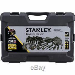 Stanley 201 Mécanique Pc Tool Set Chrome Noir À Cliquet Douilles Clé Kit Case